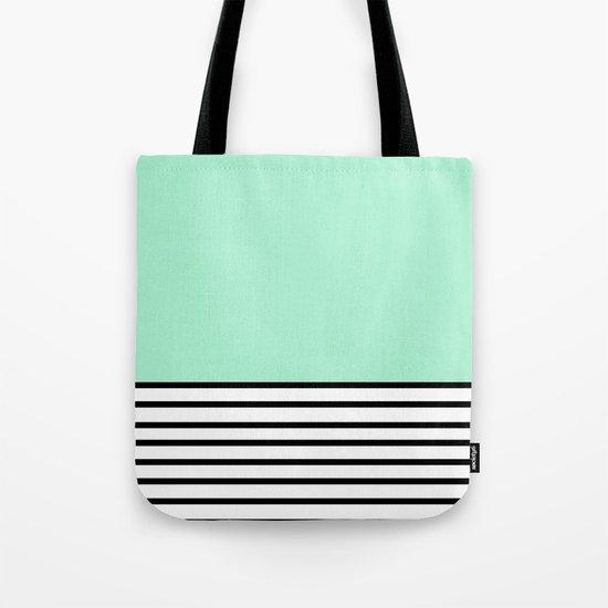Fresh Mint Black and White stripes pattern Tote Bag