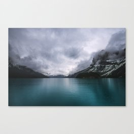 Landscape Photography Maligne Lake Mountain View | Turquoise Water | Alberta Canada Canvas Print