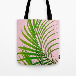 Simple palm leaves paradise in pink Tote Bag