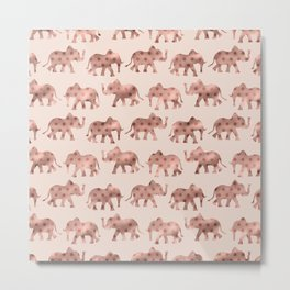 Cute Girly Pink Rose Gold Polka Dot Elephants Metal Print