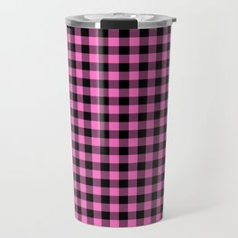 Classic Pink Country Cottage Summer Buffalo Plaid Travel Mug