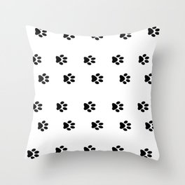 Cat Paws - Cat Lovers Unite! Black and White Cat Art Throw Pillow