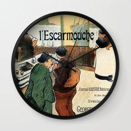 L'Escarmouche Vintage French bar scene Wall Clock