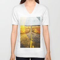 road V-neck T-shirts featuring Road by emegi
