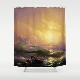 The Ninth Wave Landscape Masterpiece by Ivan Aivazovsky Shower Curtain