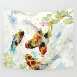 Watercolor Koi Pond Wall Tapestry
