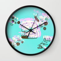 sewing Wall Clocks featuring Sewing Splash by minniemorrisart