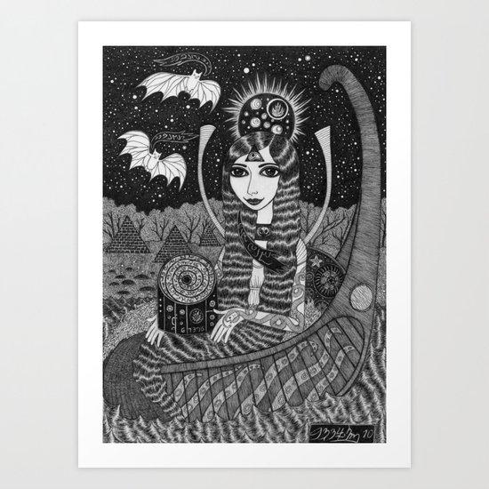 Girl in a Boat in Autumn. Art Print