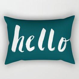 Hello x Dark Turquoise Rectangular Pillow