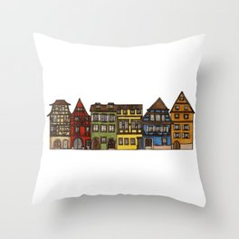 Colorful Riquewihr Houses Side-by-Side Throw Pillow