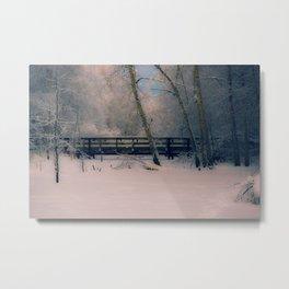 Pastel Colors of Winter at the Footbridge at Creamers Field Metal Print