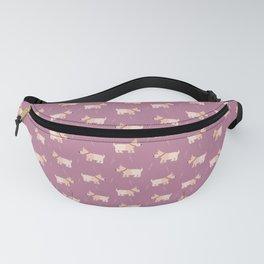 Fox terriers on purple Fanny Pack