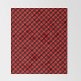 Diagonal Red and Black Buffalo Check Plaid Tartan Throw Blanket