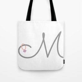 M Initial with Stitch Marker Tote Bag