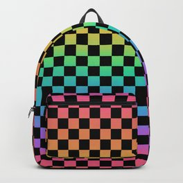 Rainbow and Black Checkerboard Backpack