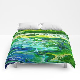 Blue waves and green grass Comforters