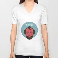 stanley kubrick V-neck T-shirts featuring STANLEY KUBRICK by Gerardo Lisanti