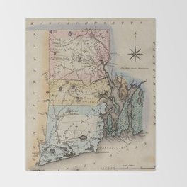 Vintage Map of Rhode Island (1823) Throw Blanket