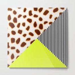 Cheetah Leo stripe and neon Metal Print
