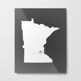 Minnesota North in Charcoal Metal Print