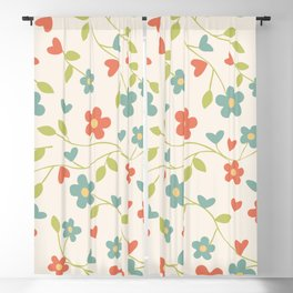 Elegant Orange and Teal Ditsy Floral Pattern Blackout Curtain