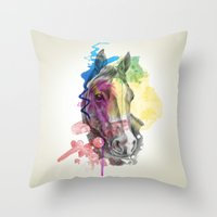 horse Throw Pillows featuring horse  by mark ashkenazi