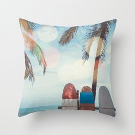 Surf Life Tropical Coastal Landscape Surfboard Scene Throw Pillow