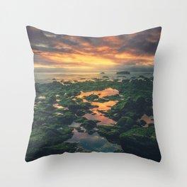 Adraga on the rocks Throw Pillow
