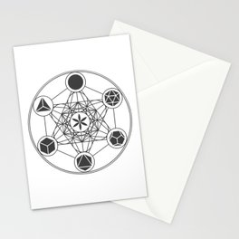 Metatron's Cube with Platonic Solids and Seed of Life Stationery Cards
