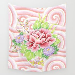 Pink Kimono Bouquet Wall Tapestry