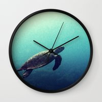 sea turtle Wall Clocks featuring Turtle by Rachel's Pet Portraits