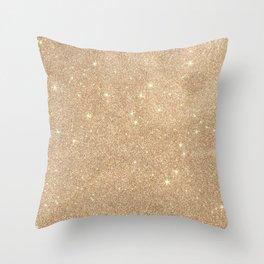 Gold Glitter Chic Glamorous Sparkles Throw Pillow