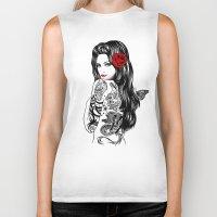 lolita Biker Tanks featuring Tattoo Lolita by Rachel Caldwell