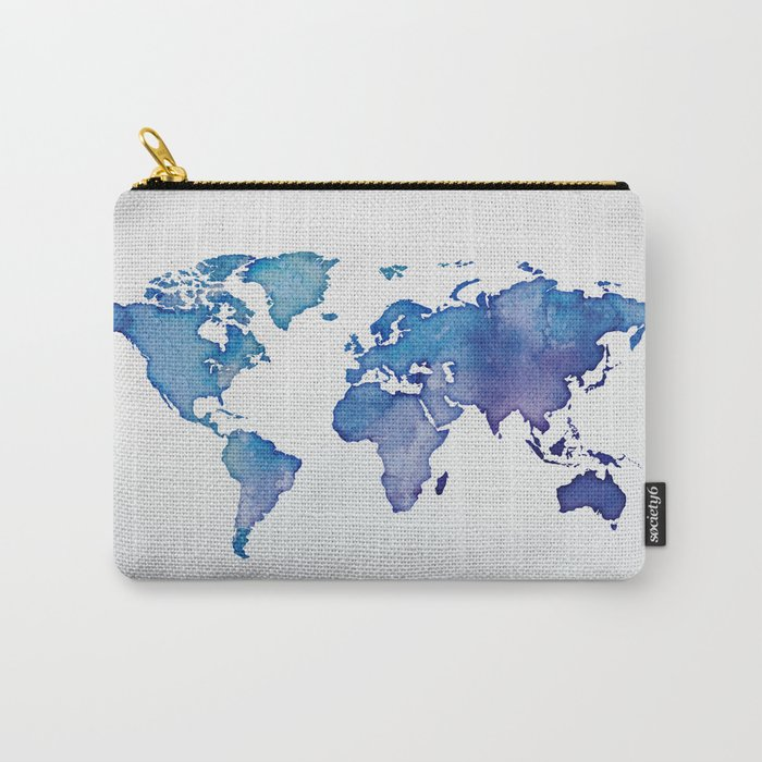 Blue World Map 02 Carry-All Pouch