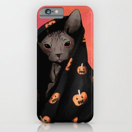 Brown Sphynx Cat Snuggled Up In a Halloween Pumpkin Blanket iPhone Case