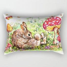 Bunny in Fairy Garden Rectangular Pillow