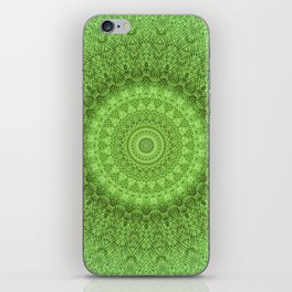 Sunflower Feather Bohemian Leaf Pattern \\ Aesthetic Vintage \\ Green Teal Aqua Color Scheme iPhone Skin