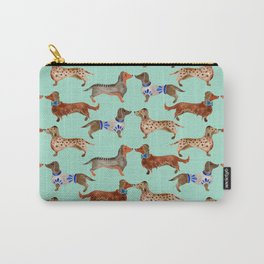 Dachshunds on Blue Carry-All Pouch