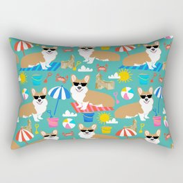 Corgi Sandcastles summer beach day print corgi beach ball sun dog pattern Rectangular Pillow