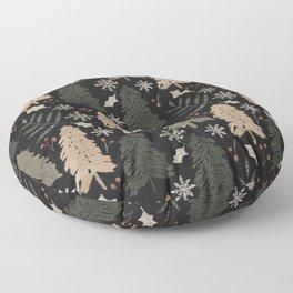 Winter in the Woods Dark Background  Floor Pillow