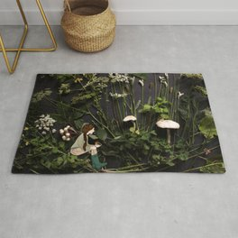 Bridie and the Robins in the Forest of Shamrocks Rug