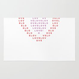 Heart shape of LOVE Rug