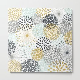 Abstract - Floral - Grey and Gold Metal Print