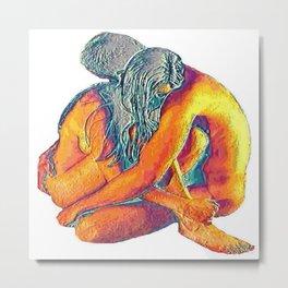Hug o' War   Hug of War Nude Couple Cuddling Metal Print