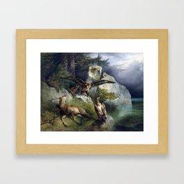 Friedrich Gauermann Adler and Dying Stag Lakefront Framed Art Print