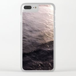 PINK SUNSET WAVES Clear iPhone Case