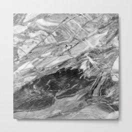 Carrara Grey Marble Metal Print