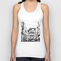 china Tank Tops featuring Yokohama - China town by parisian samurai studio