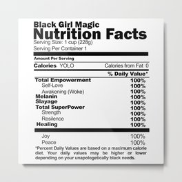 Black Girl Magic Nutrition Facts Metal Print