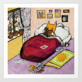 Cat reads Art Print